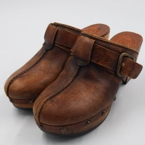 Ariat Brown Leather Buckled Strap Studded Mules